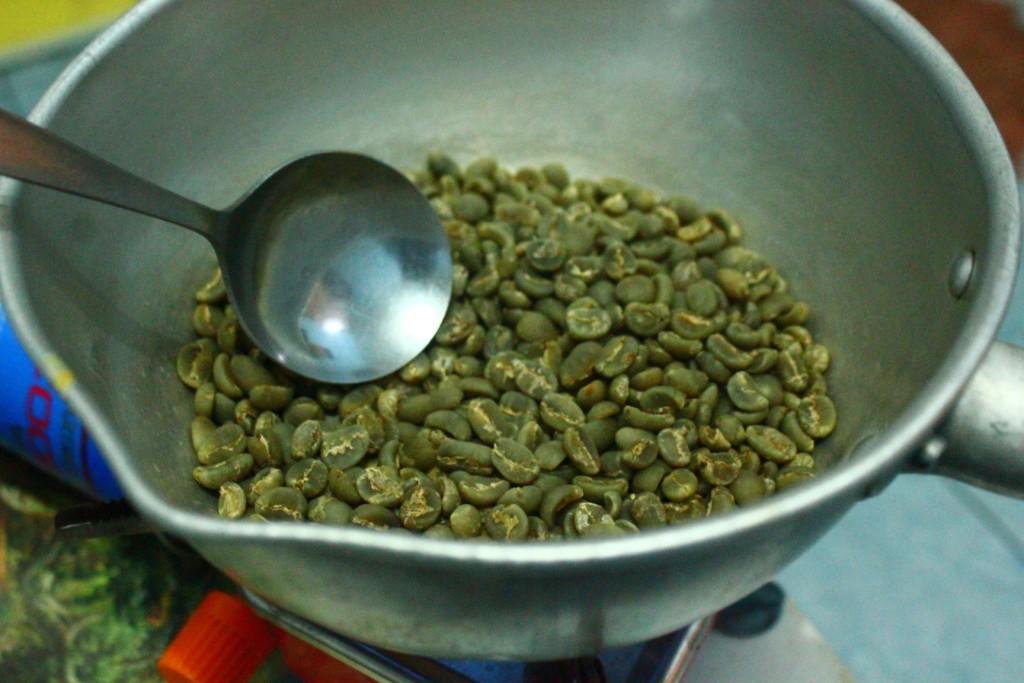 sangrai green coffee beans